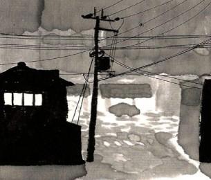 Par Masato Fujisaki  Croquis extraits de carnets réalisés pendant un séjour d'un an au Japon, entre 2012 et 2013. Ils ont été réalisés au hasard de promenades ou sur les lieux du quotidien, essentiellement au nord-est de la ville. Le mont Hiei et la rivière Kamo ont été les composantes majeures de ce paysage quotidien.